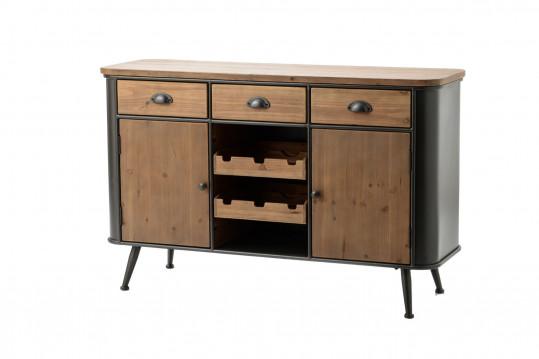 Buffet en bois et métal 2 portes et 3 tiroirs BILBAO