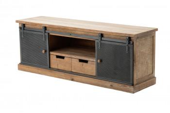 Meuble TV en bois et métal portes coulissantes NERO