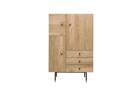 Buffet moderne haut en bois 3 portes / 3 tiroirs  - JERSEY
