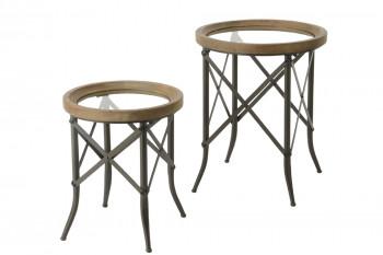 Bout de canapé en bois et plateau verre - CADOUE (le lot de 2)