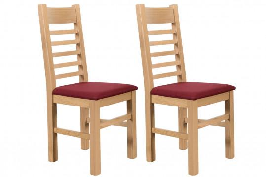 Chaises en chêne blanchi Boston - Assise rouge (Lot de 2)