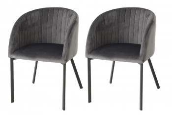 Chaise en velours rétro- (Lot de 2)