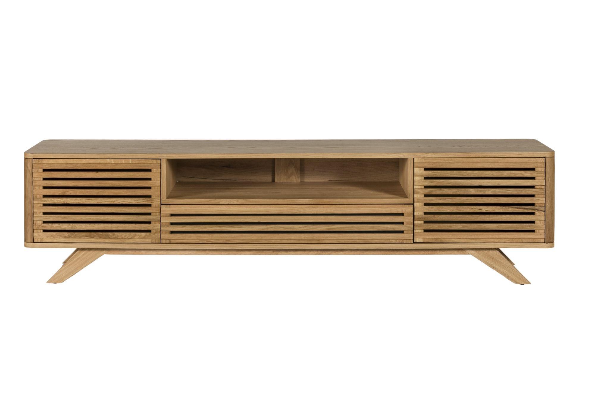 meuble tv en bois clair moderne et aux portes ajourees hellin