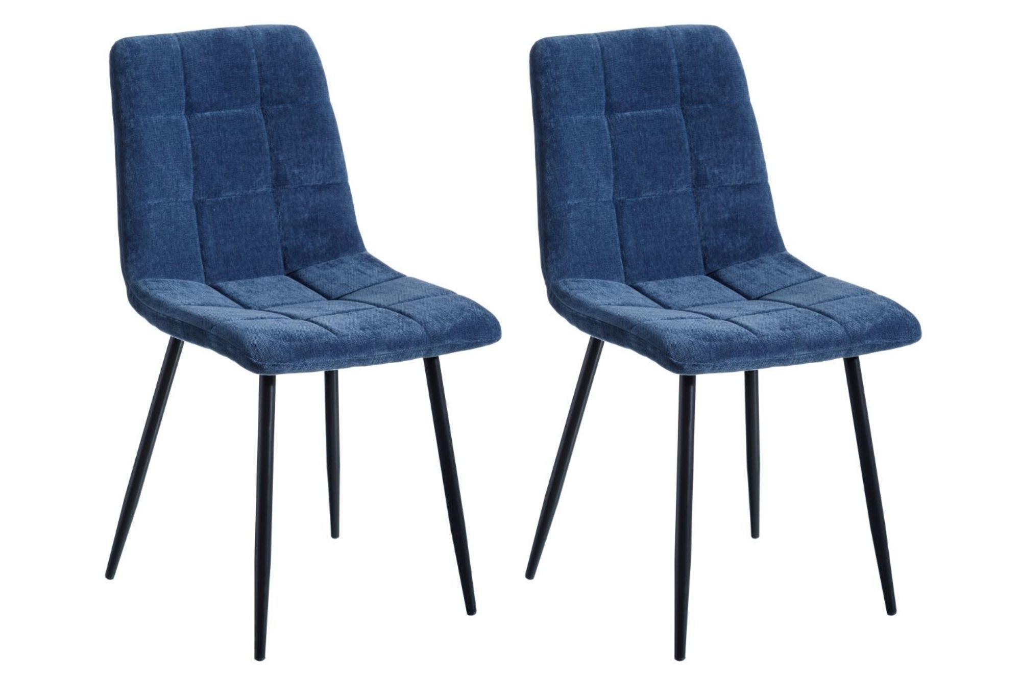 Chaise tissu et métal : lot de 2 3 coloris Diana   Hellin
