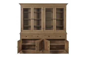 vaisselier en bois massif Victoria avec portes et tiroirs ouverts
