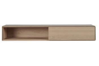 Meuble tv suspendu en bois massif avec niche et tiroir Victoria