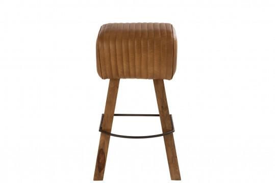 Tabouret de bar saut de cheval en bois et cuir - SAMIR