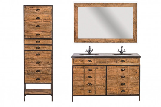 Meuble de salle de bain double vasque L140 - ensemble HAWAÏ