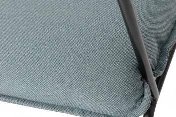 détail de l'assise en tissu bleu