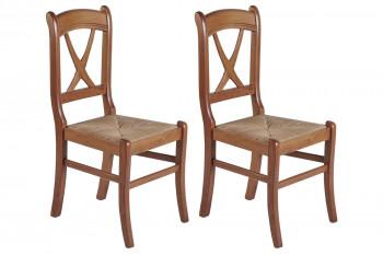 Chaises en hêtre massif assise paille et croisillon (lot de 2) - MONTANA