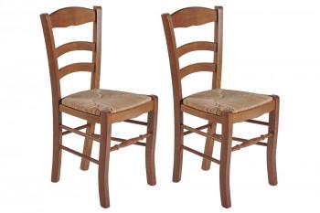 Chaises chêne doré et assise paille (Lot de 2) - KLARA