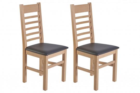 Chaises en hêtre et assise colorée similicuir (lot de 2) - BOSTON