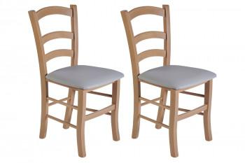 Chaises bois chêne clair - assise simili cuir colorée (Lot de 2) - TINA