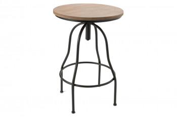 Table de bar ronde en bois et métal réglable D59 - NAVIA