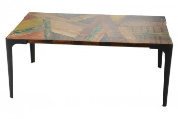 Table basse rectangulaire industrielle en bois recyclé et métal
