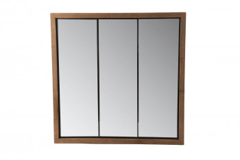 Miroir en bois et métal industriel carré - PORTUS