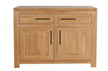 Buffet bas moderne en chêne clair 2 portes 2 tiroirs - BOSTON