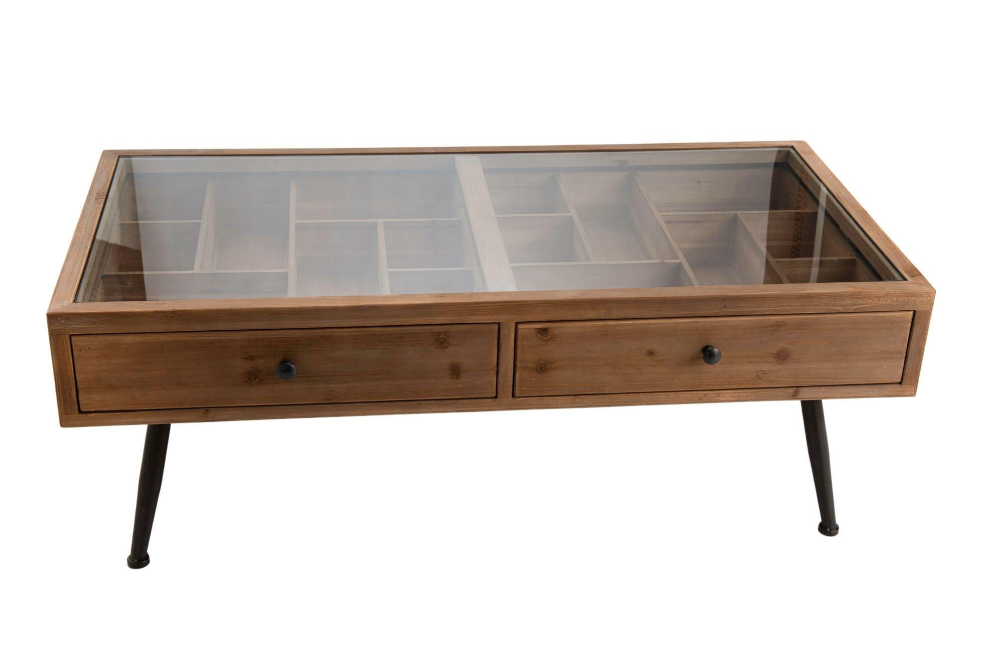 Console en bois et métal, avec plateau en verre et tiroirs compartimentées.