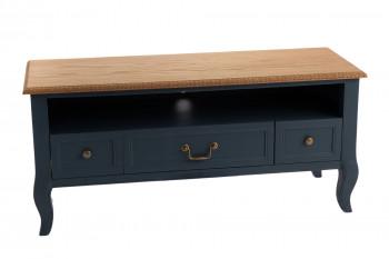 Meuble TV bas en bois 3 tiroirs et 1 niche - LOIRE