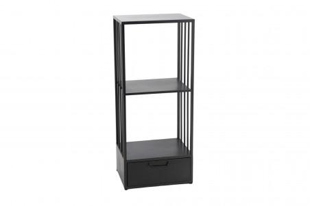 Meuble de rangement en métal noir avec tiroir et deux niches