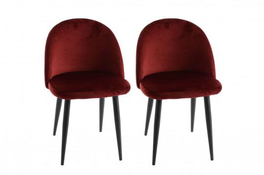 Chaises vintage en velours et métal rouge