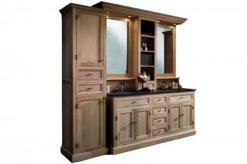 Meuble de salle de bain double vasque + 1 colonne G - ensemble VERONE