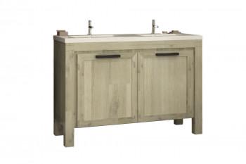 Meuble de salle de bain en acacia avec double vasque 120 - MARKLE