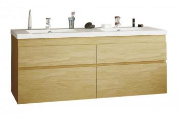 Meuble double vasque en chêne et vasque en céramique