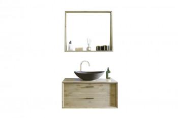 Ensemble de meuble sous vasque, vasque en pierre et miroir