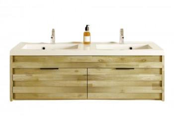 Meuble double vasque en bois et céramique 120