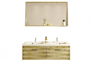 Meuble double vasque et miroir 120 cm