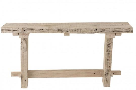 console en bois recyclé blanc délavé