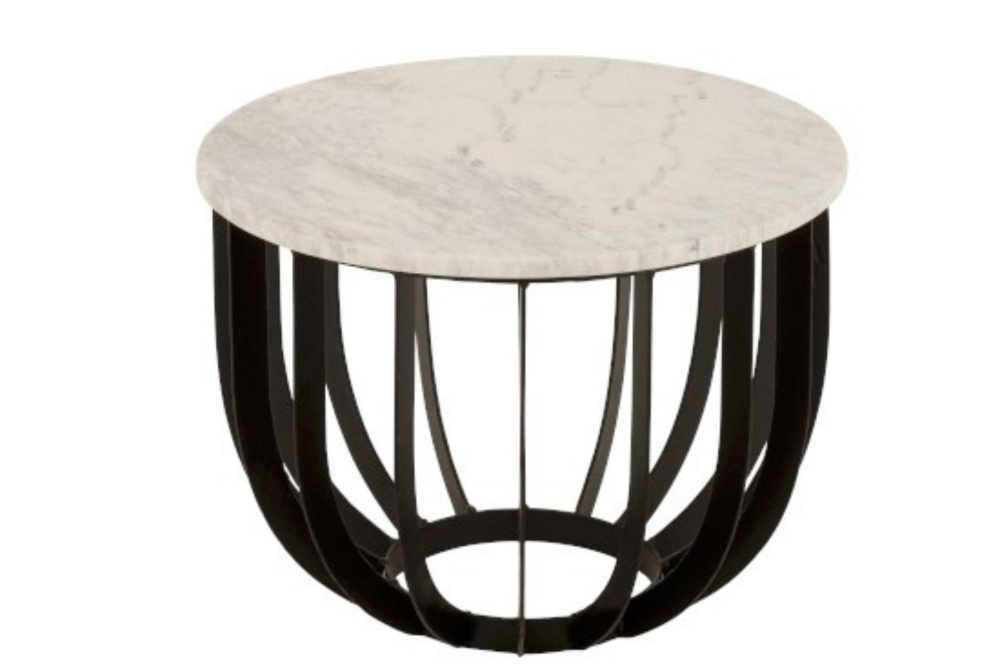 Table basse ronde en marbre et métal diamètre 50 cm