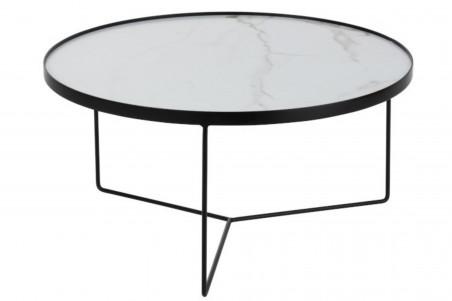 Table basse ronde en métal effet marbré