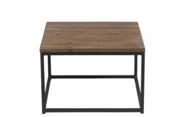 Table basse carrée en bois et métal