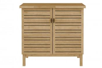 meuble sous vasque en bois massif d'acacia avec espace rangement