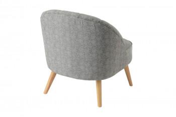fauteuil en tissu et pieds bois clair