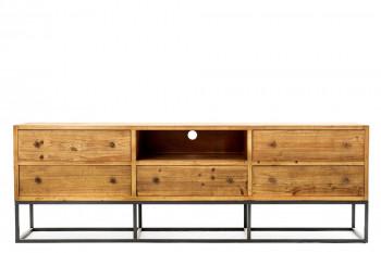 meuble tv en bois et métal industriel