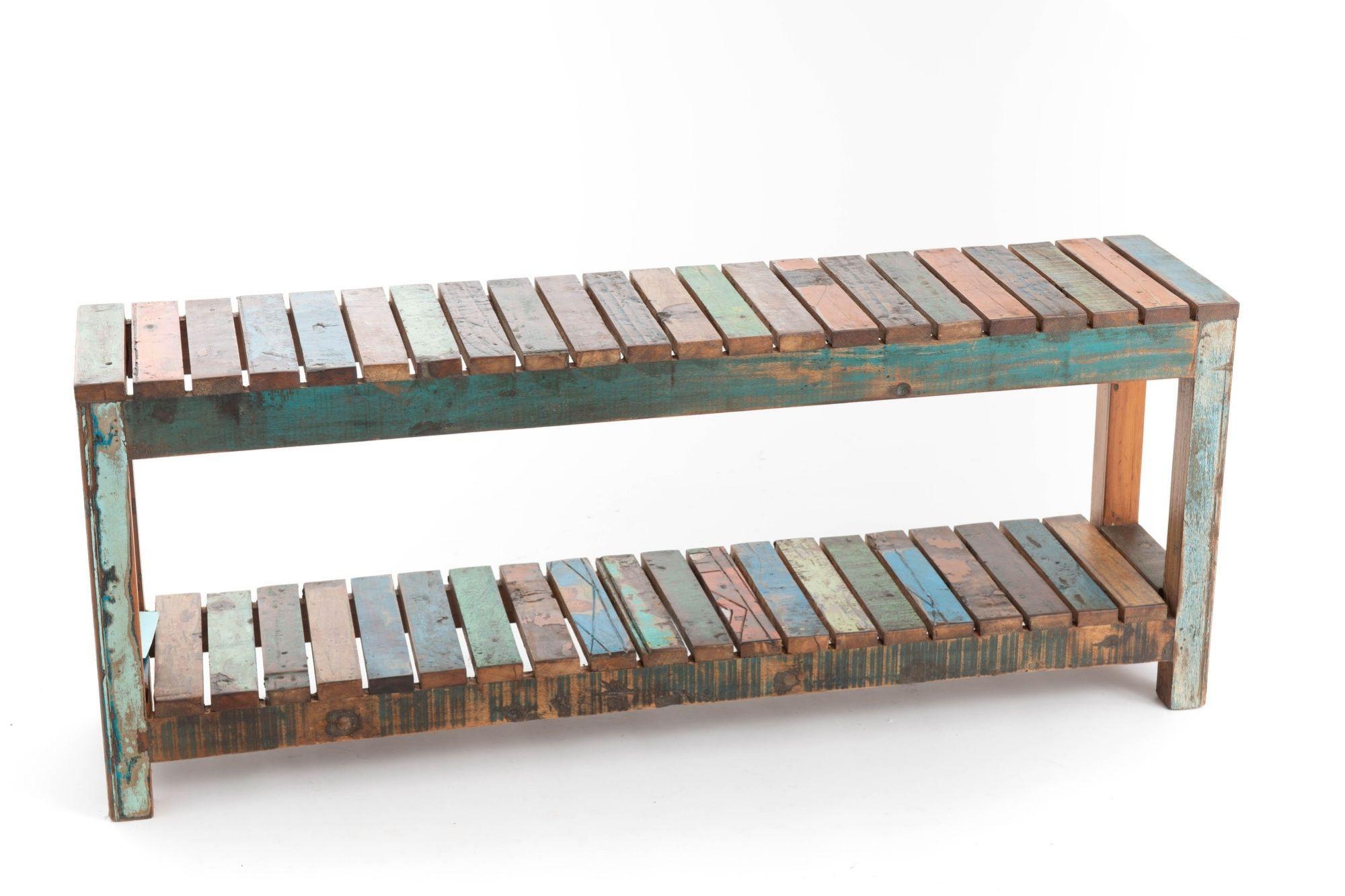 Banc en bois recyclé deux niveaux