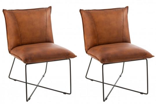 Fauteuil lounge en simili et métal (lot de 2) - AVERY