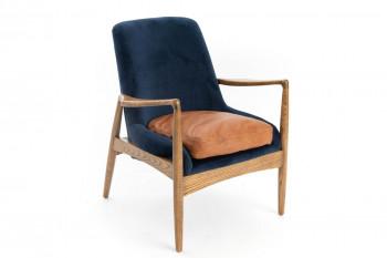 fauteuil rétro en bois et velours bleu et camel