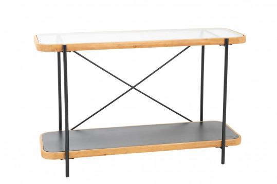 Console double plateau en verre, métal et bois