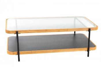 Table basse rectangulaire en métal, verre et bois - LEONCE