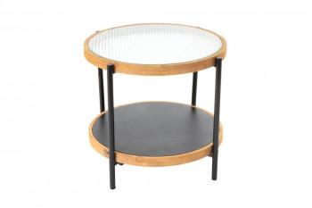 Bout de canapé en métal, verre et bois - LEONCE