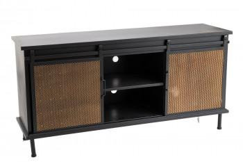 Meuble TV industriel en métal avec 2 portes coulissantes