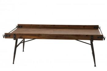 Table basse rectangulaire en bois et métal - MARIUS