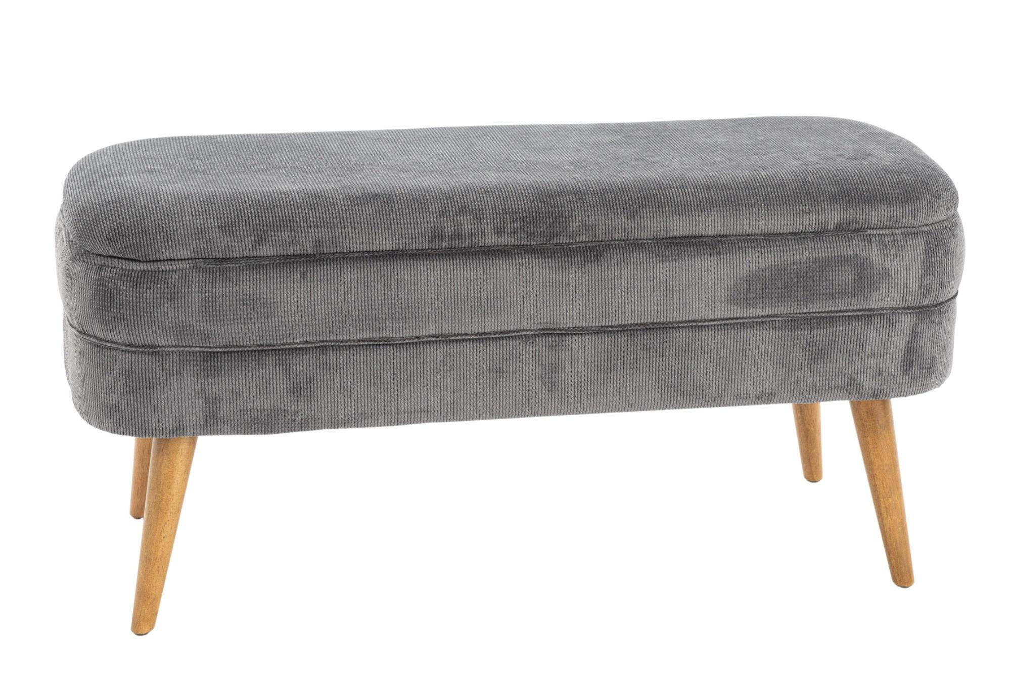 Banc avec coffre de rangement en tissu gris