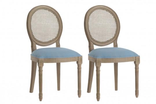 Chaises médaillon en bois et tissu coloré (lot de 2)