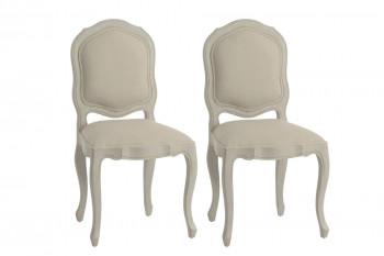 lot de 2 chaises en bois et tissu
