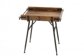 Bout de canapé en bois et métal industriel